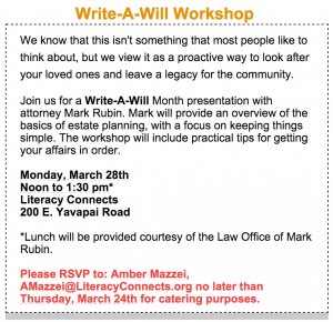 Will writing workshop