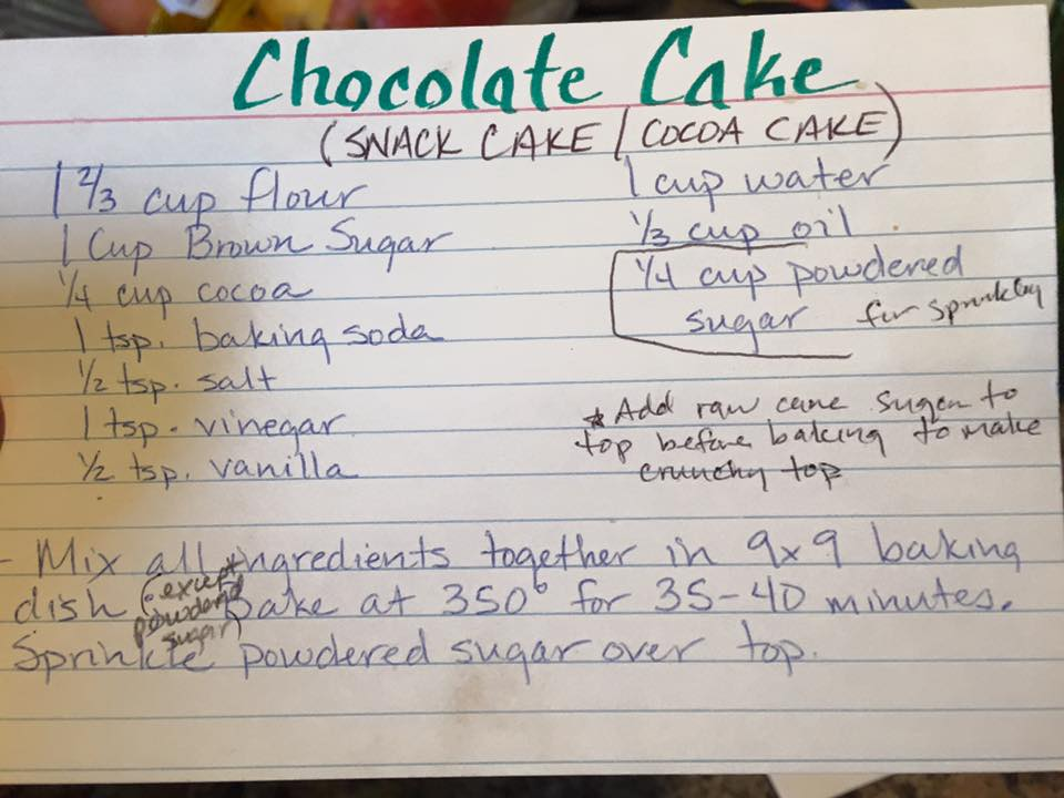 Chocolate Cake Recipe Card
